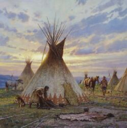Between Earth And Sky Martin Grelle Native American Indian Western Art 30x30 👍