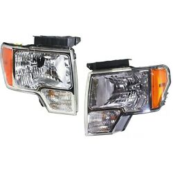 Headlight Set For 2009-2014 Ford F-150 Left And Right Chrome Housing Capa 2pc