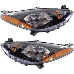 Headlight Set For 2011 2012 2013 2014 Mazda 2 Left And Right With Bulb 2pc
