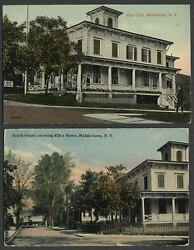 Middletown Ny Two C.1910 Postcards Elks Home Club On South Street