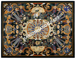 5'x4' Marvelous Marble Black Table Top Precious Pietra Dura Inlay Gifts E627A1