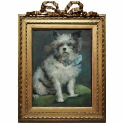 CUTEST 19th c. Pastel Dog Portrait Wire Haired Terrier Puppy Antique Painting