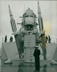 terrier guided missile: pointing skywards from a twin launcher. - Vintage photo