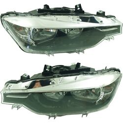 Halogen Headlight Set For 2016 Bmw 328i Left And Right W/ Bulbs Pair