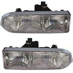 Halogen Headlight Set For 1998-2004 Chevy S10 Left And Right W/ Bulbs Pair Capa
