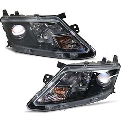 Headlight Set For 2010-2012 Ford Fusion Left And Right Black Housing 2pc