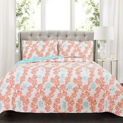 Lush Decor Dina Coral 3 Piece Quilt Set