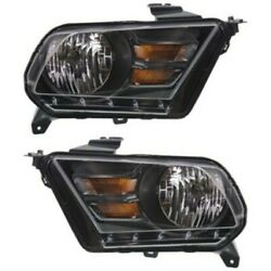 Headlight Set For 2010-2014 Ford Mustang Left And Right Black Housing 2pc