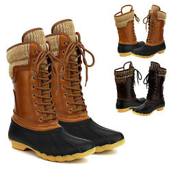 Women's Waterproof Rubber Warm Hiking Snow Rain Winter Lace Up Duck Boots Size