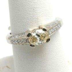 New 14k White Gold Yellow Diamond Ring Oval Pave 1 Carat Vintage Reproduction