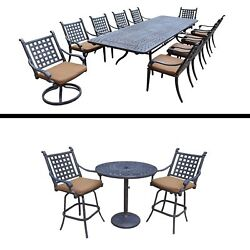 11 Pc Dining Set with Extendable Table and 3 Pc Bar Set