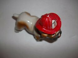 CUTE VINTAGE BULL DOG RED FIRE HAT 7 FIGURINE CERAMIC BULLDOG GREAT CONDITION