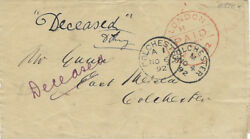 Gb 1892 Stampless Wrapper To East Mersea- Colchester Single Rings 20.2122mm