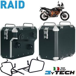 Pair Suitcases Aluminum Raid 41 +47 L And Frames Ktm 1190 Adv R Abs And039 13and039/14