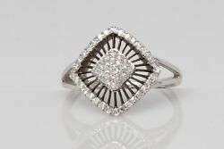 Pave Diamond Fashion Ring With Black Rhodium Accent In 14k White Gold