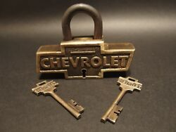 Antique Vintage Style Brass amp; Iron Trunk Chest Box Chevrolet Chevy Lock Padlock