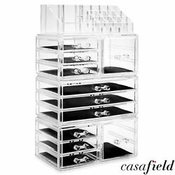 Large Acrylic Cosmetic Makeup Organizer Jewelry Drawer Storage Box Display Case $27.99