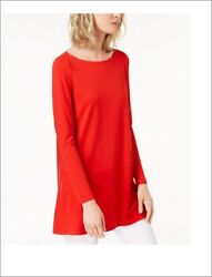 Nwt Eileen Fisher Stretch Jersey Boat-neck Top Tunic M Lava 128