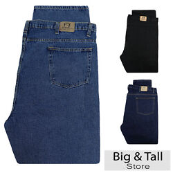 Big And Tall Menand039s Denim Jeans Fixed Waist 44 - 66 Relaxed Fit By Full Blue