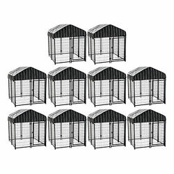 Lucky Dog 4and039 X 4and039 X 4.5and039 Covered Wire Dog Fence Kennel Pet Play Pen 10 Pack