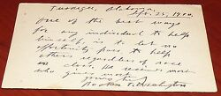 Booker T Washington Authentic 1900 Signed Hand-written Postcard Very Rare