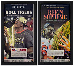 Clemson Tigers 2016 And 2018 Cfp Champions Set Of 2 Newspaper Covers Framed