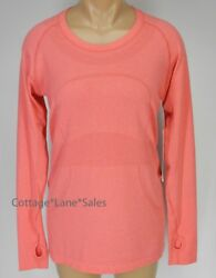 NEW LULULEMON Run Swiftly Tech Long Sleeve Top 10 Heathered Lush Coral Train