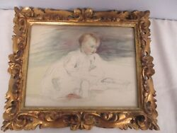 Vintage Framed Watercolor Painting Pencil Drawing Of Sitting Child Baby