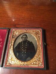Civil War 1/6 Plate Tintype Of Union Major Or Colonel Rare Rank