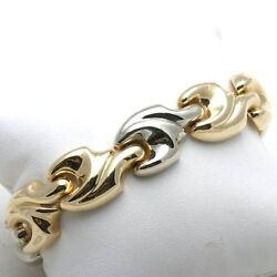 Vintage 14k Yellow White Gold Bracelet Wide Swirl Chunky Smooth Wide 7.5 Long
