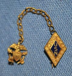Two Wwii Usn Sweetheart Pins And Chain