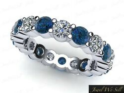 Shared Prong Eternity Band Ring 1.95ct White And Blue Diamond 950 Platinum G Si1