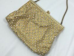 Vintage Walborg Evening Bag Gold Lame Rhinestones Small 25995 $24.74