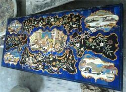 7'x3' Black Marble Dining Top Table Pietra Dura Lapis Inlay Hallway Decor E835A