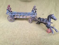 Large Antique Cast Iron Toy Fire Truck Horse Drawn Wagon Arcade Hubley Ives