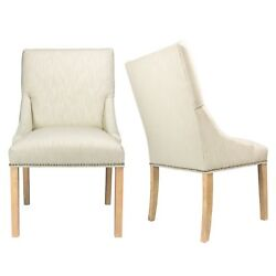 Marie Off-White Upholstered Dining Chairs with Wood Legs (Set of 2)