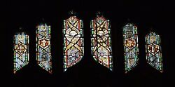 + Older Stained Glass Church Window + By J. Morgan Transom Sb22 + Chalice Co.