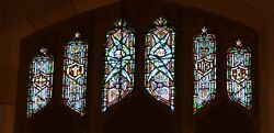+ Older Stained Glass Church Window + By J. Morgan Transom Sb15 + Chalice Co.