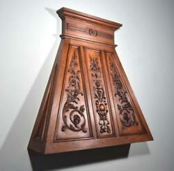 *Antique French Style Fireplace or Range Vent Hood in Solid Oak wCarvings