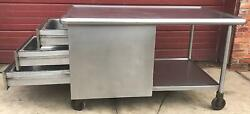Rare 1959 Vintage Heavy Gauge Stainless Steel Island With 3 Drawers Free Ship