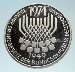 1974 F Proof Germany W German Federal Constitution Law Silver 5 Mark Coin I75334