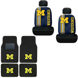 New Ncaa Michigan Wolverines Car Truck Front Rear Floor Mats And Seat Covers Set