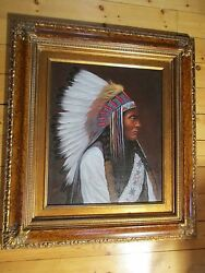 LARGE NATIVE AMERICAN CHIEF PAINTING