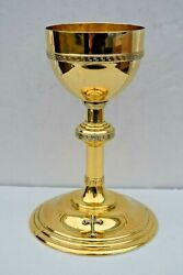 + Traditional Antique Chalice + 8 1/2 Ht + Cup Sterling + Gold Plated + Cu575