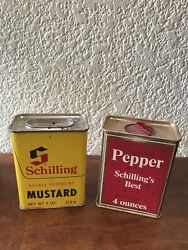 Vintage Schilling Spice Tins Dry Mustard And Pepper Containers Display Collectible