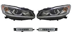 Left And Right Genuine Headlights Headlamps And Fog Lights Kit For Honda Accord Tour