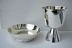Antique All Sterling Silver Chalice And Bowl Paten + 6 3/4 Ht. Cu603 Chalice Co