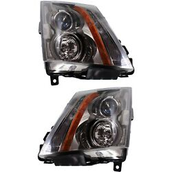 Halogen Headlight Set For 2008-2015 Cadillac Cts Left And Right W/bulbs Pair Capa