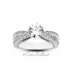 1.45ct Total F-SI2 Exc Round GIA Diamonds 18kw Vintage Engraved Accent Ring 9.2g
