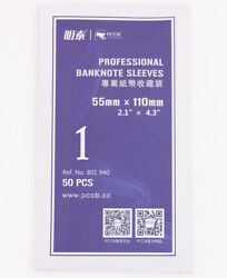 Wholesale 500 Pcs Paper Money Banknote Sleeves Holder Clear Soft Bag 55mm110mm